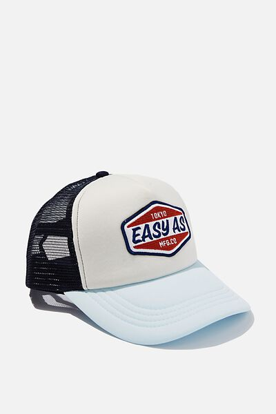 Wicked Print Trucker, OFF WHITE/PALE BLUE/NAVY/EASY AS