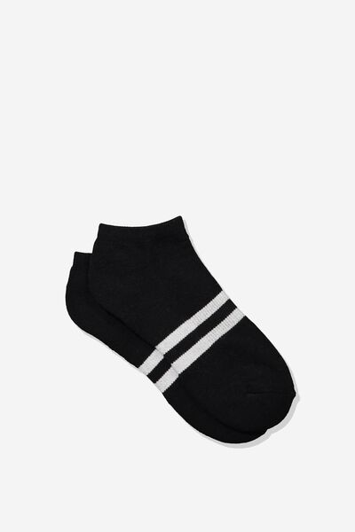 Mens Ankle Sock, BLACK/WHITE SPORT STRIPE