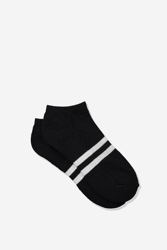Mens Ankle Sock, BLACK/WHITE SPORT STRIPE