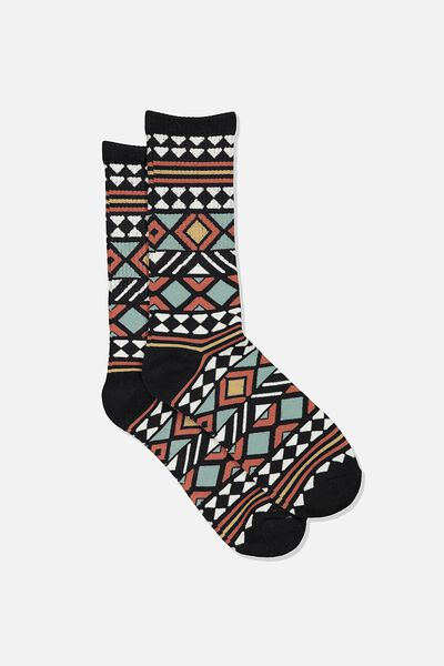 Single Pack Active Socks, BLACK/DUSTY RED TRIBAL STRIPE