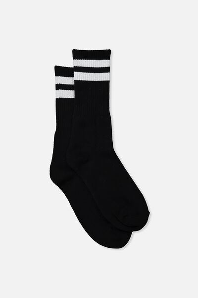 Single Pack Active Socks, SPORT STRIPE/BLACK