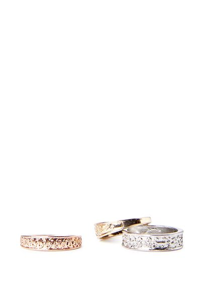 3 Filigree Etched Ring Pack, MULTI