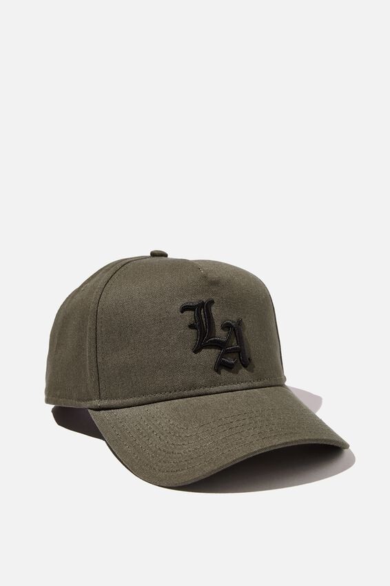 Curved Peak Snapback, KHAKI/BLACK/LA