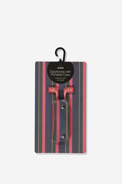 Earbuds With Case, RED/SPORT HOUSE STRIPE