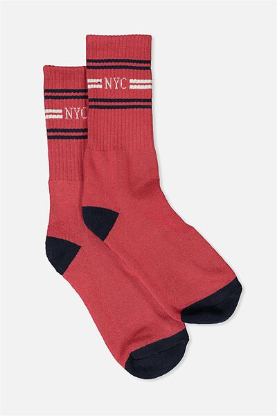 Single Pack Active Socks, NYC TRIPLE/RED