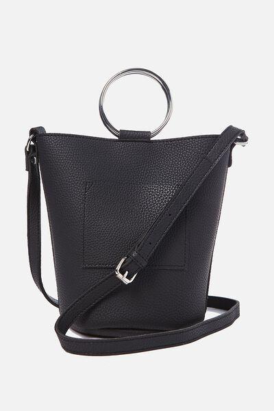 Isabella Ring Handle Bucket Bag, BLACK