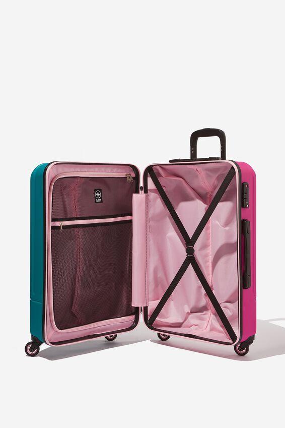 Med 24Inch Hard Suitcase, MAGENTA/TEAL