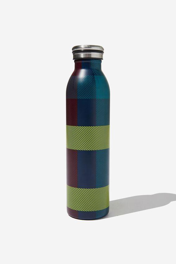 Transit Metal Drink Bottle, BRIGHT CHECK