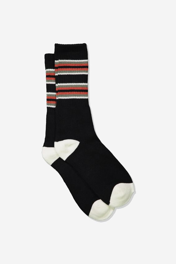 Single Pack Active Socks, BLACK/ROOIBOS RED CUFF STRIPE