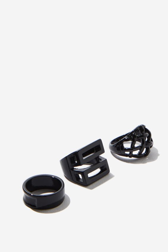 Rings 3 Pack, BLACK 1