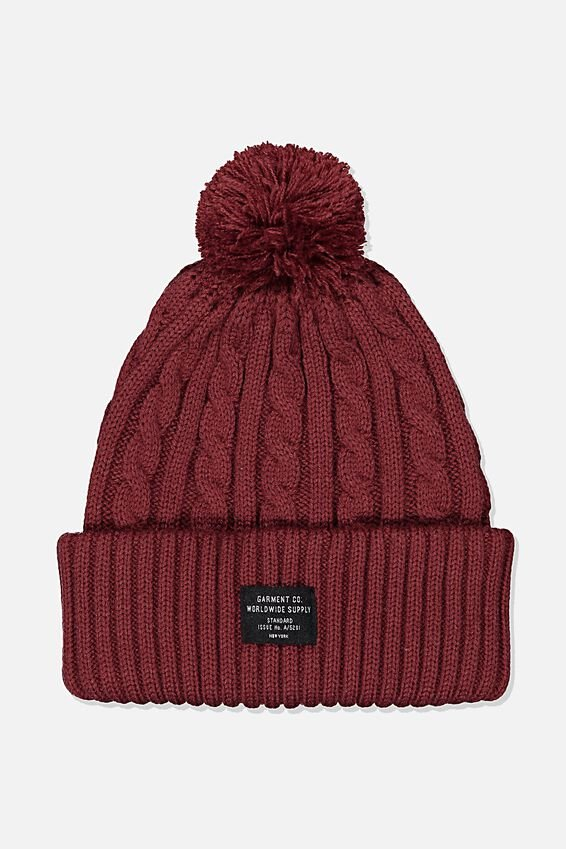 Arctic Beanie, BURGUNDY CABLE/WORLDWIDE SUPPLY