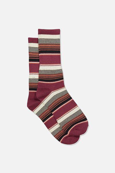 Single Pack Active Socks, MAROON/BURNT ORANGE MULTI STRIPE