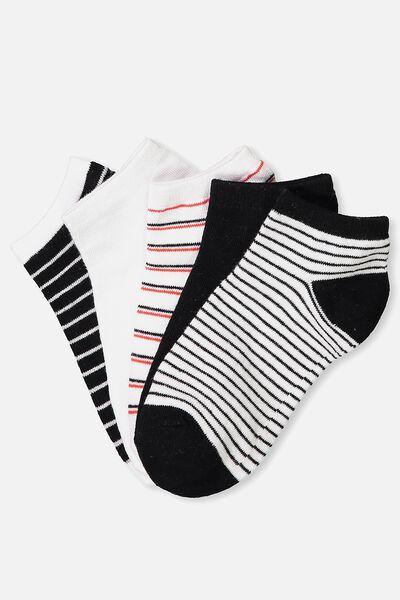 5Pk Ankle Sock, CLASSIC STRIPES