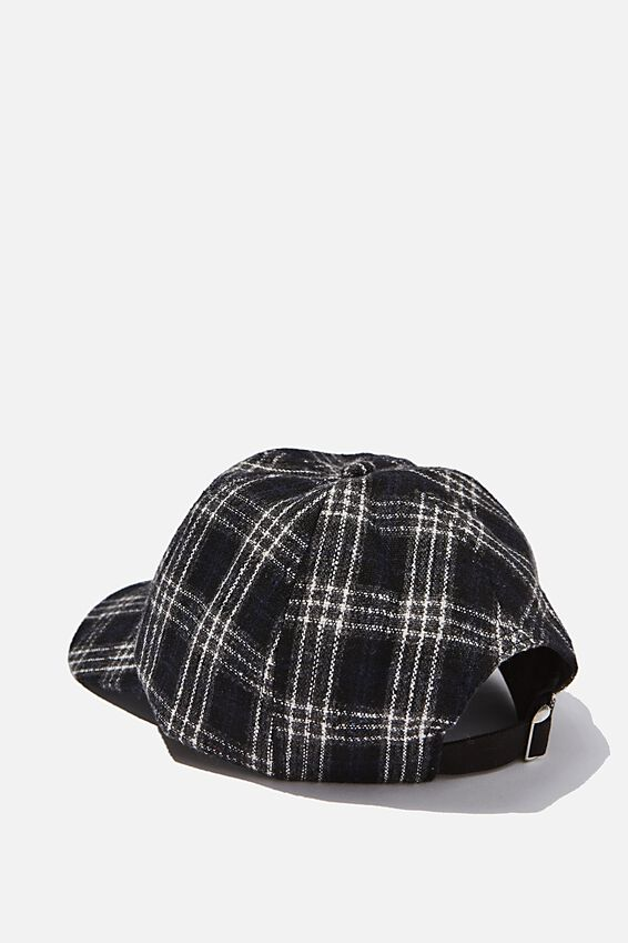 Strap Back Dad Hat, BLACK PLAID/CREST