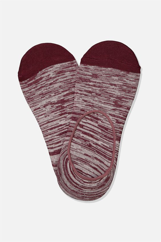 Invisible Socks 2 Pack, MAROON/OFF WHITE MELANGE
