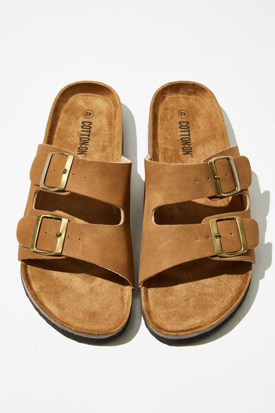 Double Buckle Sandal, BROWN