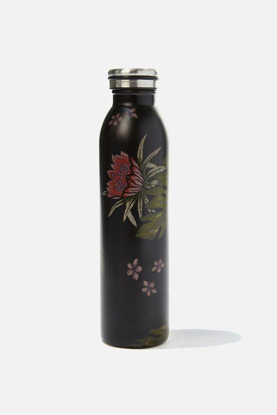 Transit Metal Drink Bottle, BLACK HIBISCUS