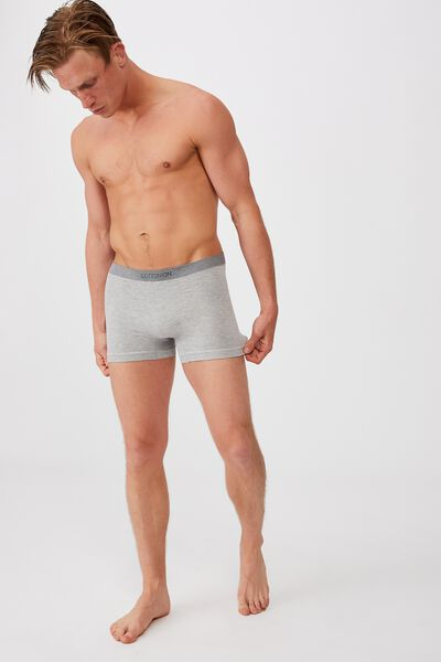 Mens Seamless Trunks, MID GREY/WHITE MARLE/STRIPE