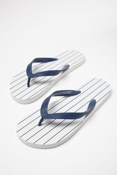 Bondi Flip Flop, WHITE/NAVY VERTICAL STRIPE