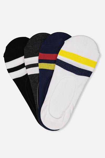 Multi Pack Invisi Socks, NEW-STRIPE PACK