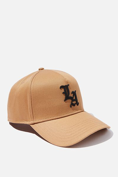 Curved Peak Snapback, CAMEL/BLACK/LA