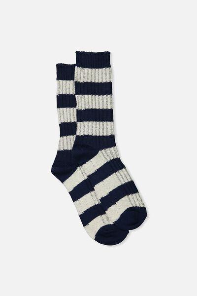 Single Pack Active Socks, INK/WHITE STRIPE
