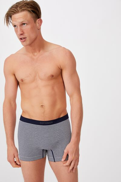 Mens Seamless Trunks, NAVY/MARLE/STRIPE