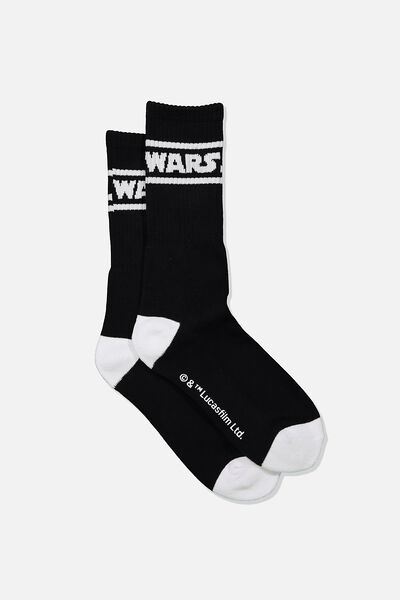 Single Pack Active Socks, LCN LUC BLACK/WHITE STAR WARS