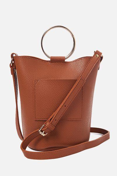 Isabella Ring Handle Bucket Bag, TAN