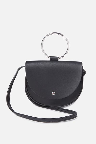 Ava Ring Handle Saddle Bag, BLACK
