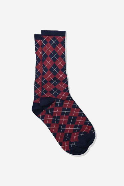 Single Pack Active Socks, NAVY/BURGUNDY PLAID