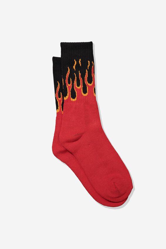 Single Pack Active Socks, RED/BLACK FLAME