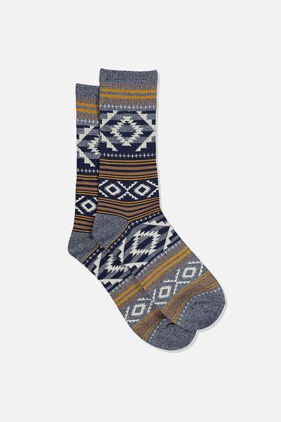 Single Pack Active Socks, NAVY MARLE/BROWN AZTEC STRIPE