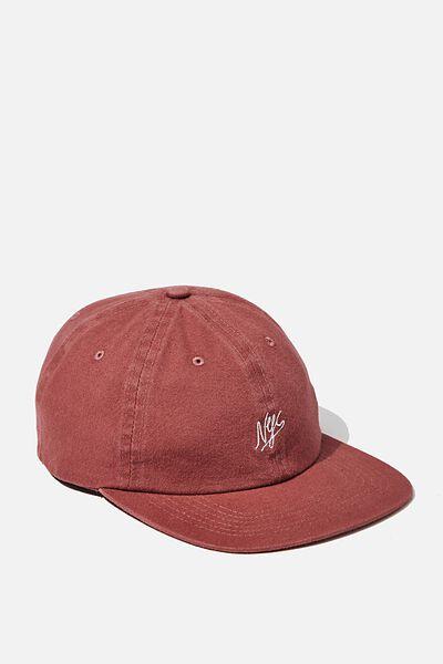 6 Panel Hat, DUSTY BURGUNDY/NYC SCRIPT