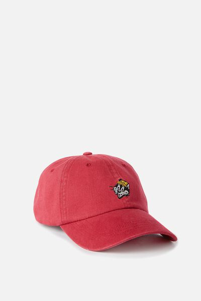Strap Back Dad Hat, RED/WHISKERS