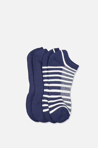 Ankle Socks 2 Pack, NAVY/OFF WHITE STRIPE