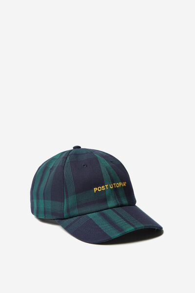 Strap Back Dad Hat, BLUE/GREEN CHECK/POST UTOPIA
