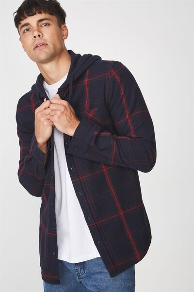 Hooded Lounge Shirt, NAVY/RED CHECK/NAVY WAFFLE HOOD