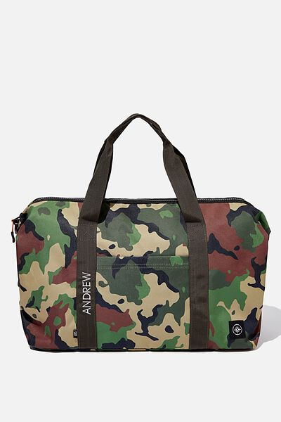 Personalised Transit Duffle Bag, WOODLAND CAMO CLASH