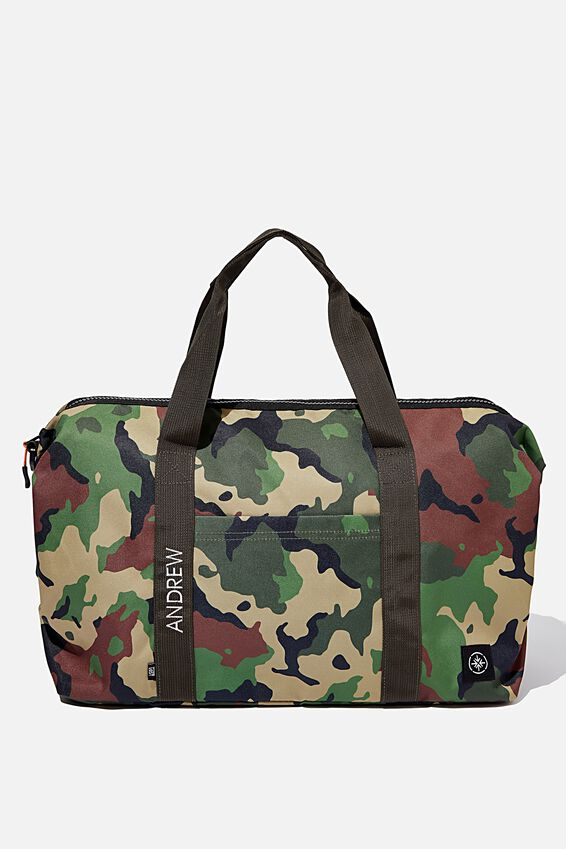 Personalised Transit Duffle Bag, WOODLAND CAMO CLASH