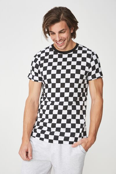 Scooped Lounge Tee, BLACK/WHITE CHECK