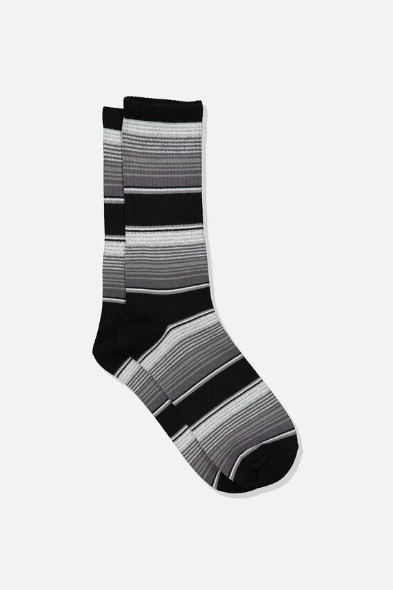 Single Pack Active Socks, BLACK/GREY MULTI STRIPE