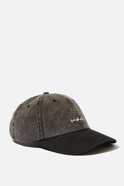 Strap Back Dad Hat, WASHED BLACK DENIM/BLACK/USA SCRIPT