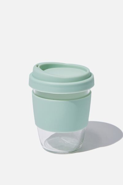 Reusable Glass Coffee Cup 380Ml, GREEN