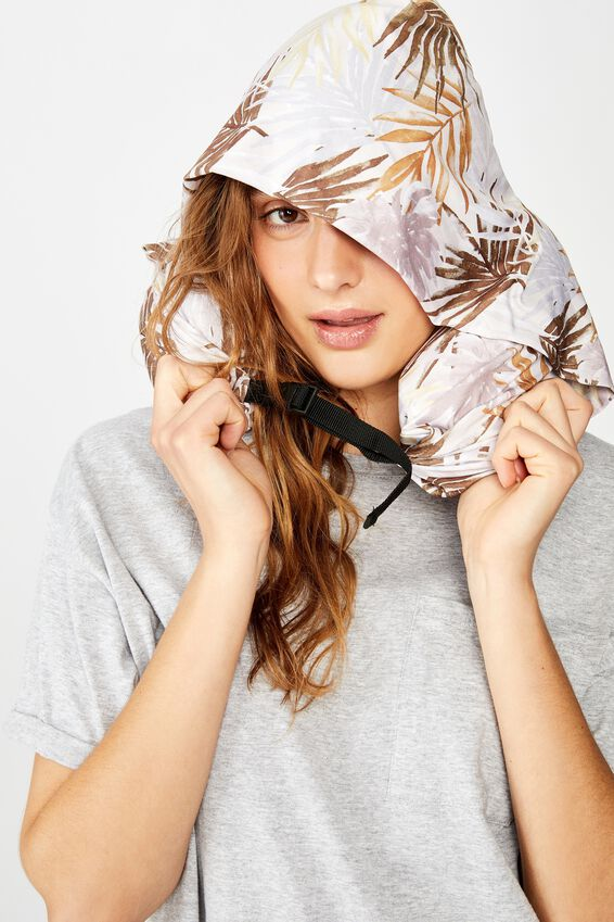 Neck Pillow With Hood, LAYERED FOLIAGE