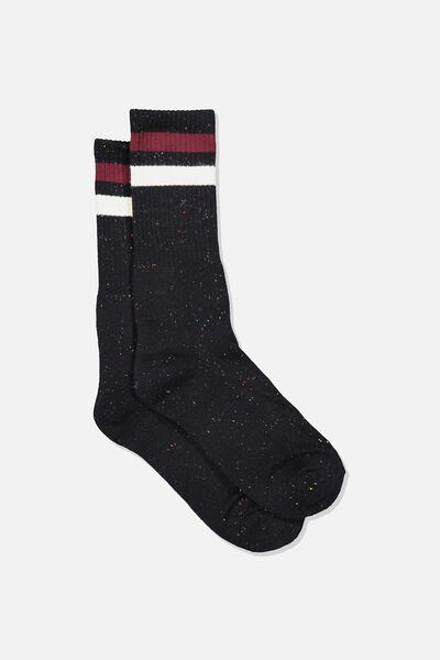 Single Pack Active Socks, BLACK MELANGE SPORT STRIPE