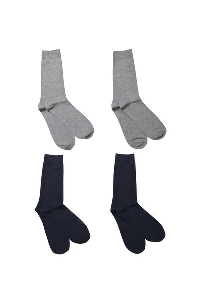 Multi Pack Staple Socks, CHARCOAL/NAVY