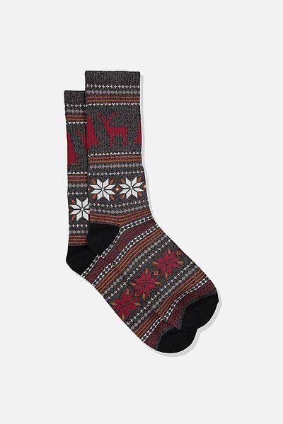 Single Pack Active Socks, BLACK MARLE/DEEP RED/SAND/ALASKA