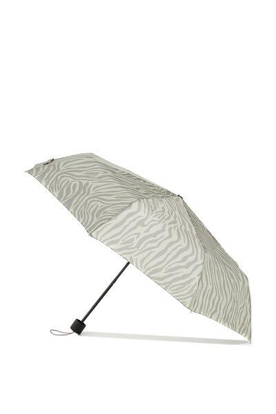 Splish Splash Medium Umbrella, KHAKI ZEBRA/SOOT