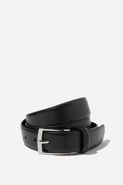 Dress Belt, BLACK/SILVER
